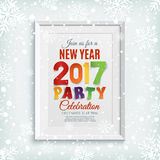 New Year party poster template with snow and snowflakes. Winter background. White picture frame.  Vector illustration Royalty Free Stock Photo