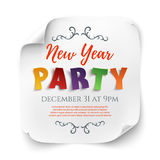 New Year party poster template, on white background. New Year party poster template, isolated on white background. White, curved, paper banner. Vector Royalty Free Stock Image