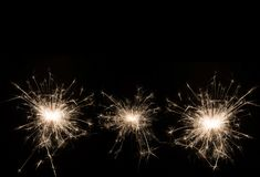 New year party sparkler on black background. For celebration or decoration Stock Photo