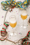 New year party with two glasses filled with champagne to celebr Royalty Free Stock Image