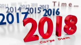 New Year 2018 - carpe diem - 3d render. New Year 2018 - passing time concept - carpe diem - 3d render Stock Photo