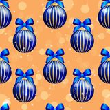 New Year pattern with ball. Christmas wallpaper with bow and ribbon. Royalty Free Stock Photo