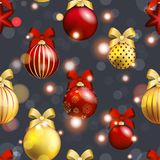 New Year pattern with ball. Christmas wallpaper with bow and ribbon. Royalty Free Stock Images