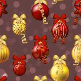 New Year pattern with ball. Christmas wallpaper with bow and ribbon. Stock Photos