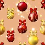 New Year pattern with ball. Christmas wallpaper with bow and ribbon. Stock Photo