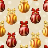 New Year pattern with ball. Christmas wallpaper with bow and ribbon. Stock Image