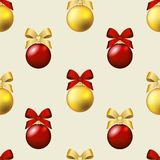 New Year pattern with ball. Christmas wallpaper with bow and ribbon. Stock Images