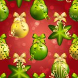 New Year pattern with ball. Christmas wallpaper with bow and ribbon. Royalty Free Stock Image
