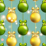 New Year pattern with ball. Christmas wallpaper with bow and ribbon. Stock Photography