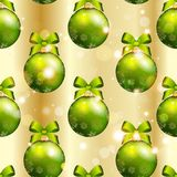 New Year pattern with ball. Christmas wallpaper with bow and ribbon. Royalty Free Stock Photography