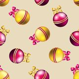 New Year pattern with ball. Christmas wallpaper Stock Images