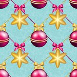 New Year pattern with ball. Christmas wallpaper Stock Photography