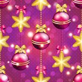 New Year pattern with ball. Christmas wallpaper Royalty Free Stock Images