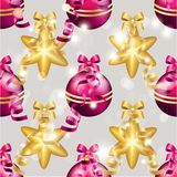 New Year pattern with ball. Christmas wallpaper Royalty Free Stock Image