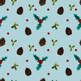 New year pattern with berries and corn stock image