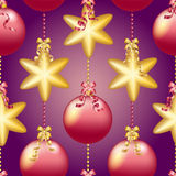 New Year pattern with Christmas ball. Sparkles and bokeh. Shiny and glowing Royalty Free Stock Image