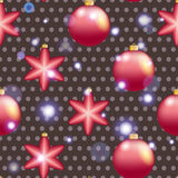New Year pattern with Christmas ball. Sparkles and bokeh. Shiny and glowing Stock Images