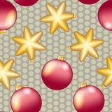 New Year pattern with Christmas ball. Sparkles and bokeh. Shiny and glowing Royalty Free Stock Photo