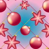 New Year pattern with Christmas ball. Sparkles and bokeh. Shiny and glowing Royalty Free Stock Images