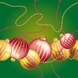 New Year pattern with Christmas ball. Sparkles and bokeh. Shiny and glowing Royalty Free Stock Photography