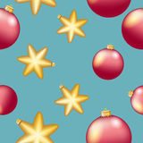 New Year pattern with Christmas ball. Sparkles and bokeh. Shiny and glowing Stock Photography