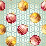 New Year pattern with Christmas ball. Sparkles and bokeh. Shiny and glowing Stock Image