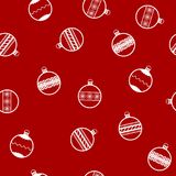 New year pattern with Christmas balls. Seamless vector backgroun. D - white ornate balls on red backdrop Royalty Free Stock Photography
