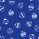 New year pattern with Christmas balls. Seamless vector. Background - white ornate balls on blue backdrop Stock Photo