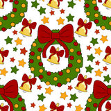 New Year pattern with christmas decoration elements. Happy holidays pattern with bell, stars, wreath on a white background. Stock Photos