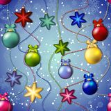 New year pattern with Christmas tree toys. Ball and star. Beads garland Royalty Free Stock Photo