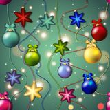 New year pattern with Christmas tree toys. Ball and star. Beads garland Stock Photography