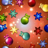 New year pattern with Christmas tree toys. Ball and star. Stock Photo