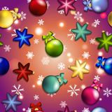 New year pattern with Christmas tree toys. Ball and star. Royalty Free Stock Photo