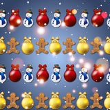 New year pattern with Christmas tree toys, gingerbread man and snowman Royalty Free Stock Photos