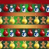 New year pattern with Christmas tree toys, gingerbread man and snowman Royalty Free Stock Image