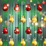 New year pattern with Christmas tree toys. Stock Images