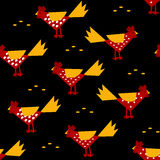 New Year pattern with colorful roosters and grain rice. Stock Image