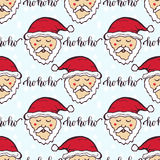New Year pattern with funny Santa. Christmas wrapping paper. Cute seamless background. Royalty Free Stock Image