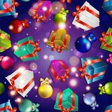 New year pattern with gifts and Christmas tree toys. Royalty Free Stock Photo