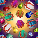 New year pattern with gifts and Christmas tree toys. Royalty Free Stock Photos