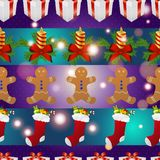 New year pattern with gingerbread man gift, Christmas candle and socks for gifts. Christmas texture fill. Sparkles and bokeh. Shiny and glowing Stock Photo