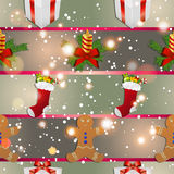 New year pattern with gingerbread man gift, Christmas candle and socks for gifts. Christmas texture fill. Sparkles and bokeh. Shiny and glowing Royalty Free Stock Image