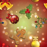 New year pattern gingerbread man, mistletoe, garland and Christmas ball Royalty Free Stock Photography