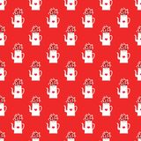 New Year pattern with kettles and hearts royalty free illustration