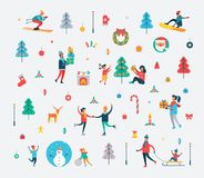 New Year Pattern of People and Holiday Symbols. New Year pattern of happy people, Christmas tree, sweet cane, funny snowman, Polar deer, decorative toys and Royalty Free Stock Image