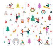New Year Pattern of People and Holiday Symbols. New Year pattern of happy people, Christmas tree, sweet cane, funny snowman, Polar deer, decorative toys and Royalty Free Stock Photography