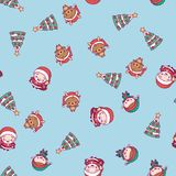 New Year pattern. Santa Claus, Christmas tree, deer on a blue background.  Stock Photo
