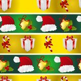 New year pattern with Santa hat, gift, Christmas tree toys, and striped candy Royalty Free Stock Image