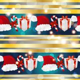 New year pattern with Santa hat, gift and striped candy Royalty Free Stock Images