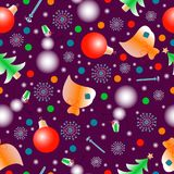 New year pattern seamless-2. With balls, snowmans, eves Royalty Free Stock Photo